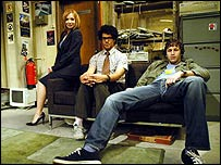 Katherine Parkinson, Richard Ayoade and Chris O'Dowd in The IT Crowd