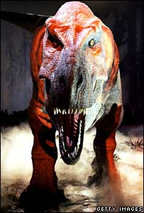 An animatronic T. rex at the Natural History Museum
