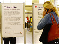 Tube strike sign