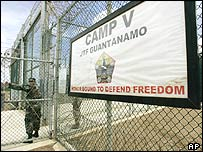 A US soldier at Guantanamo Bay, Cuba