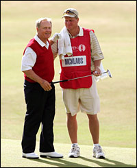 Jack Nicklaus stands with his son and caddy Steve