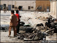 The scene of a suicide car bomb explosion in Baghdad, Iraq