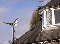 Wind turbines on a roof