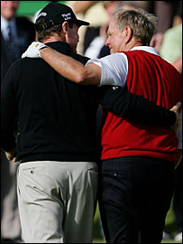 Tom Watson and Jack Nicklaus share a special moment down the 18th