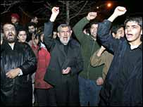 Iranian demonstrators outside Norwegian embassy
