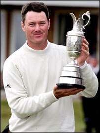 Todd Hamilton poses with the Claret Jug after his play-off victory last year