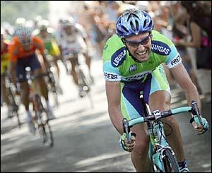 Italy's Stefano Garzelli leads the peloton