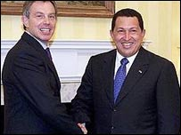 El primer ministro brit�nico, Tony Blair, y el presidente de Venezuela, Hugo Ch�vez.