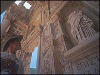 A tourist at the ancient city of Ephesus, southern Turkey
