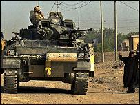 A British tank in Basra, near Amarah