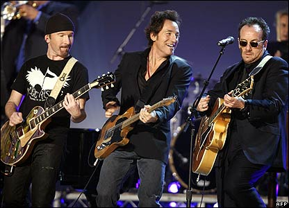 U2's The Edge, Bruce Springsteen and Elvis Costello at the Grammy Awards