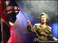 Ali Belbin performs a scene from Thatcher the Musical