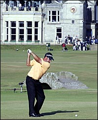 Jose Maria Olazabal fires a drive up the last