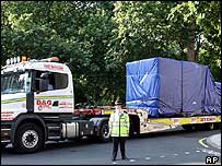 The bombed bus is moved from Tavistock Square in central London