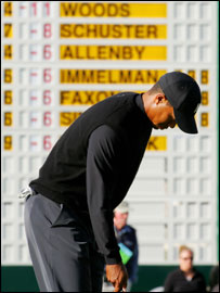 Tiger Woods in his natural habitat - at the top of the leaderboard