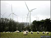 Wind farm by a sheep farm in Scotland