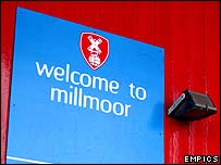 A 'Welcome to Millmoor' sign at Rotherham