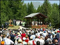 Pope Benedict XVI delivers blessing in Les Combes d'Introd, near Aosta, Italy