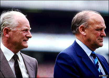 Ron Greenwood (right) with football legend Tom Finney