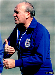 Ron Greenwood coaches the England squad before the 1980 match against Romania