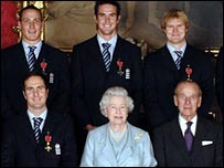 Top: S Jones, Pietersen, Hoggard; Bottom: Vaughan with the Queen and Duke of Edinburgh