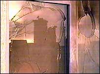Petrol bomb damage