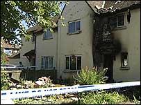 The badly-damaged house