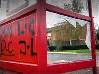 Vandalised bus stop