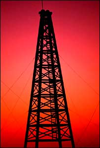 Oil rig at sunset.  Image: Eyewire