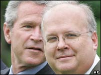 US President George W Bush, left, and adviser Karl Rove
