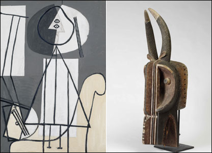 Pablo Picasso, Desnudo sentado, junto a una máscara de Baule, Costa de Marfil.