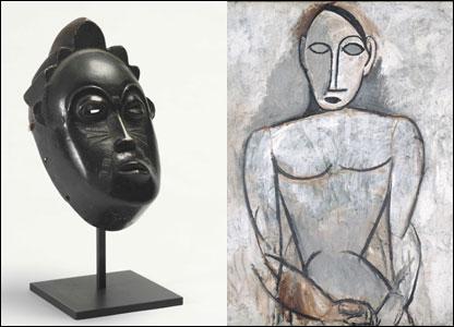 Pablo Picasso, Mujer con las manos juntas, y una obra africana.