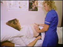 Woman having check up in a maternity ward