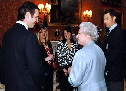 The Queen chatting with Michael Vaughan and Marcus Trescothick