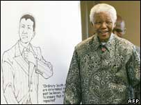 Nelson Mandela with sketch for comic book