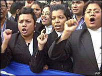 Lawyers in Bangladesh protest against bombings