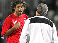 Mido confronts coach Hassan Shehata during their row on Tuesday