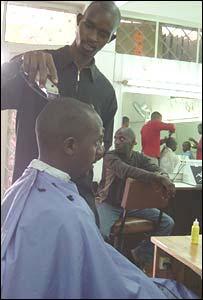 Rwandan barber Felix Akiba