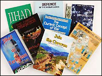 : Some of the books reportedly found on sale ( courtesy of News Ltd, Australia)