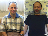Akbar Ganji in May (L) and a picture purportedly of him in jail