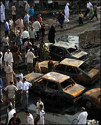 Scene of a suicide bombing in Mussayib, Iraq