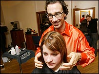 Hairdresser Stuart Philips and client