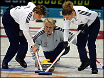 Rhona Martin (centre) led the British curling team to gold in Salt Lake City