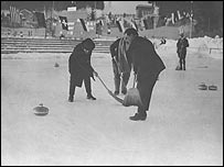 Curling action at the 1924 Winter Olympics