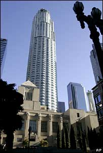 US Bank Tower, with Los Angeles' central library in front