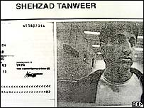 Shehzad Tanweer, pictured at Karachi airport November 2004