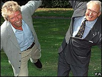 Sir Richard Branson (L) and Sir Freddie Laker
