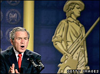 George Bush speaks at the National Guard memorial building in Washington on 9 Feb