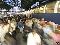 French commuters arriving at a station