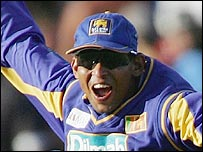 Tillakaratne Dilshan celebrates running out Ricky Ponting